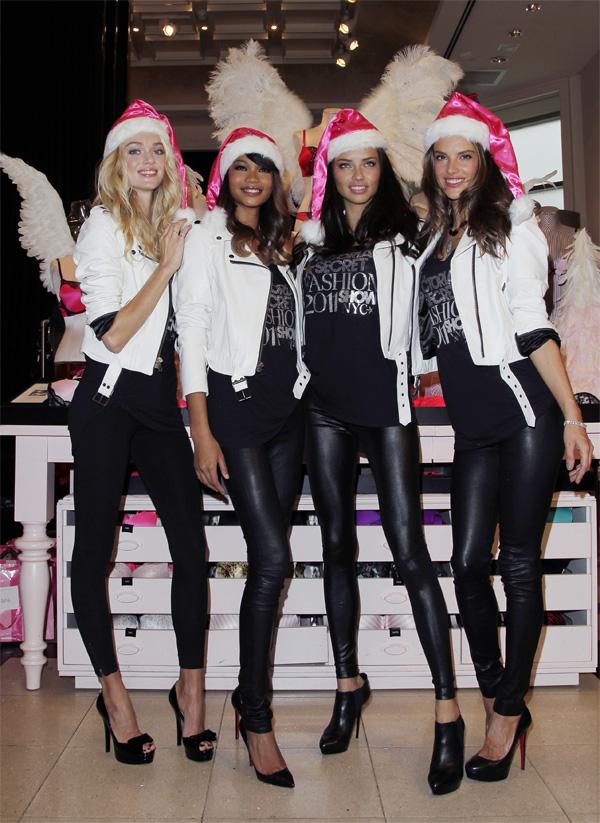 Alessandra Ambrosio and Adriana Lima at Victorias Secret Angels kick off the holiday season