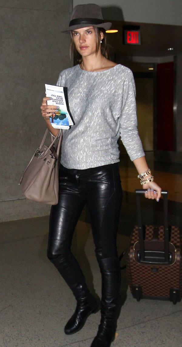 Alessandra Ambrosio arriving for a flight at LAX airport