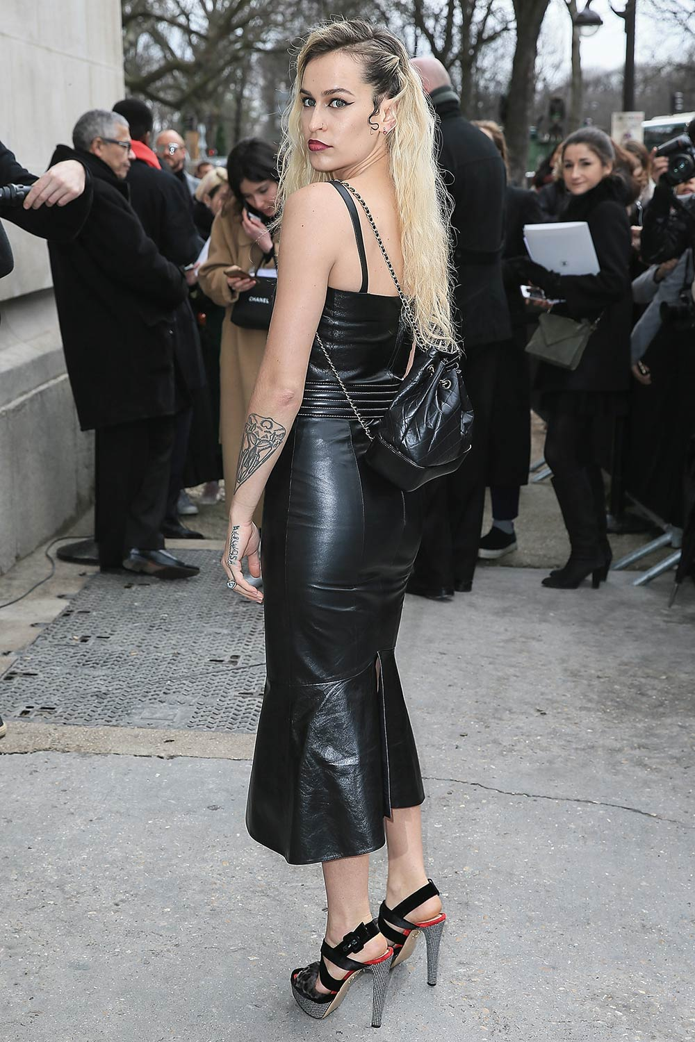 Alice Dellal Attends The Chanel Show Leather Celebrities