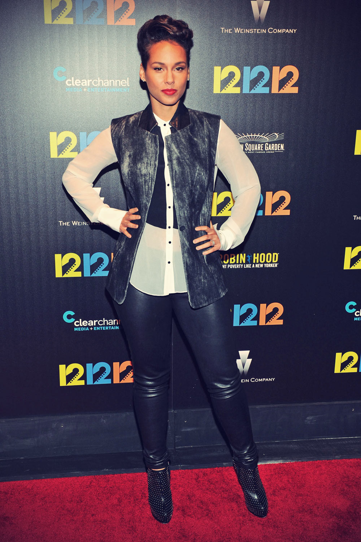 Alicia Keys attends the 12-12-12 Screening
