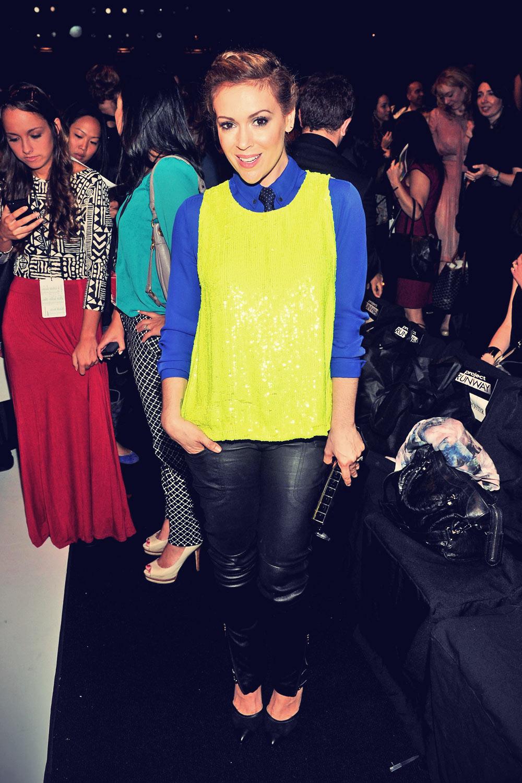 Alyssa Milano attends Project Runway Spring 2014 fashion show