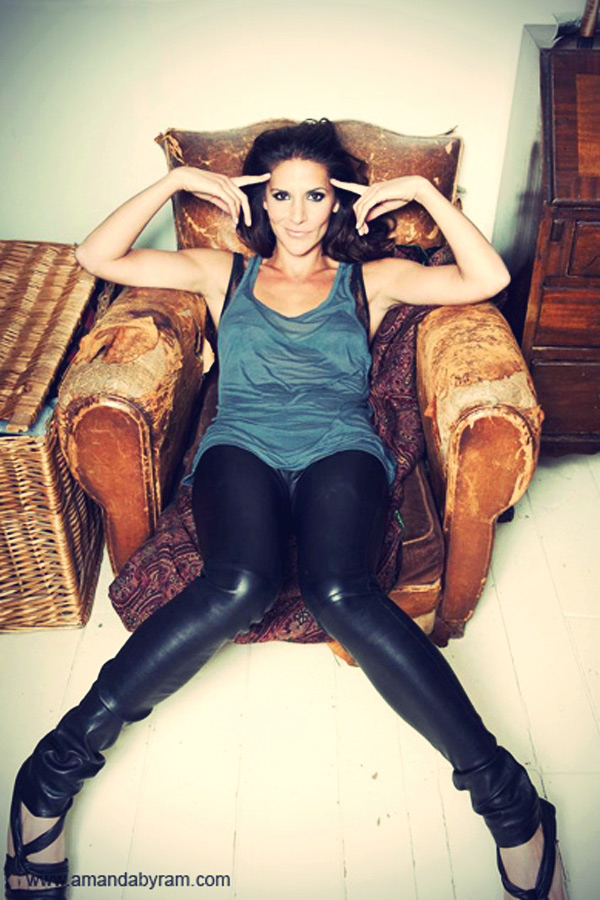 Amanda Byram leather trousers photoshoot
