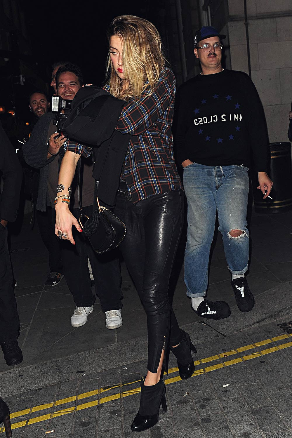 Amber Heard Attends Love Magazine Party Leather Celebrities