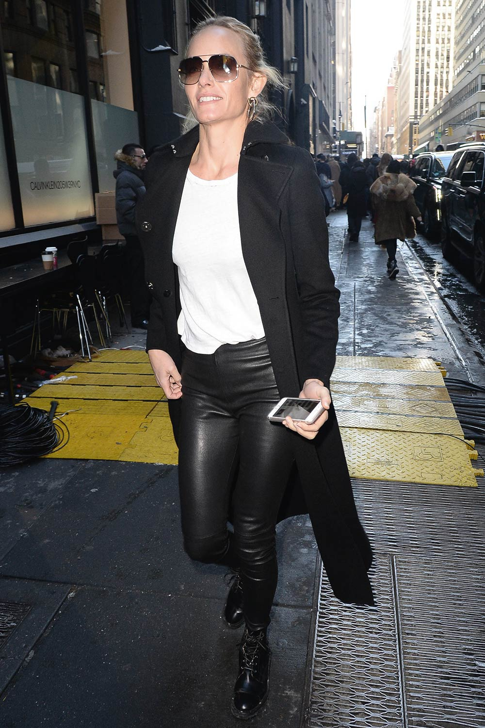 Amber Valletta is seen arriving at the Calvin Klein Collection fashion show