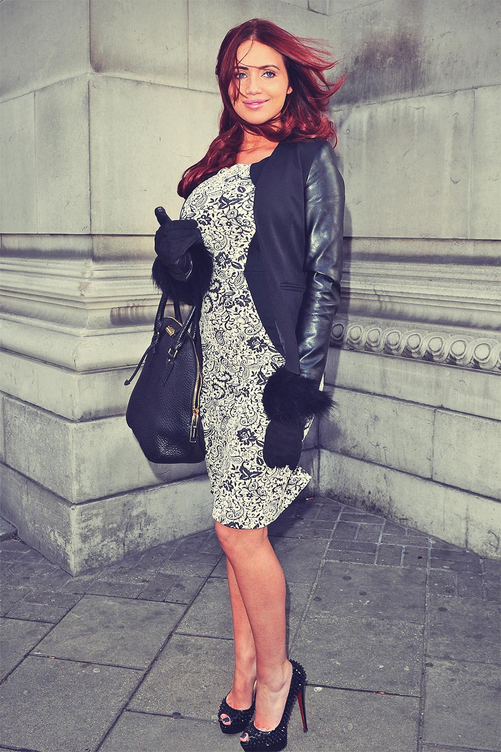 Amy Childs attends London Fashion Week
