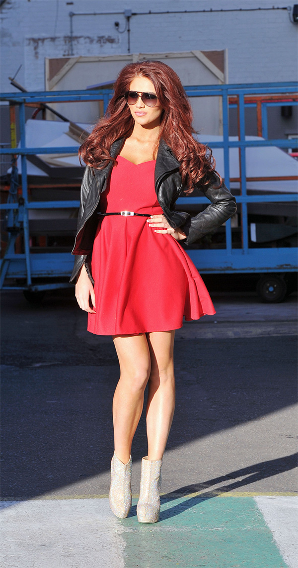 Amy Childs outside the London Studios