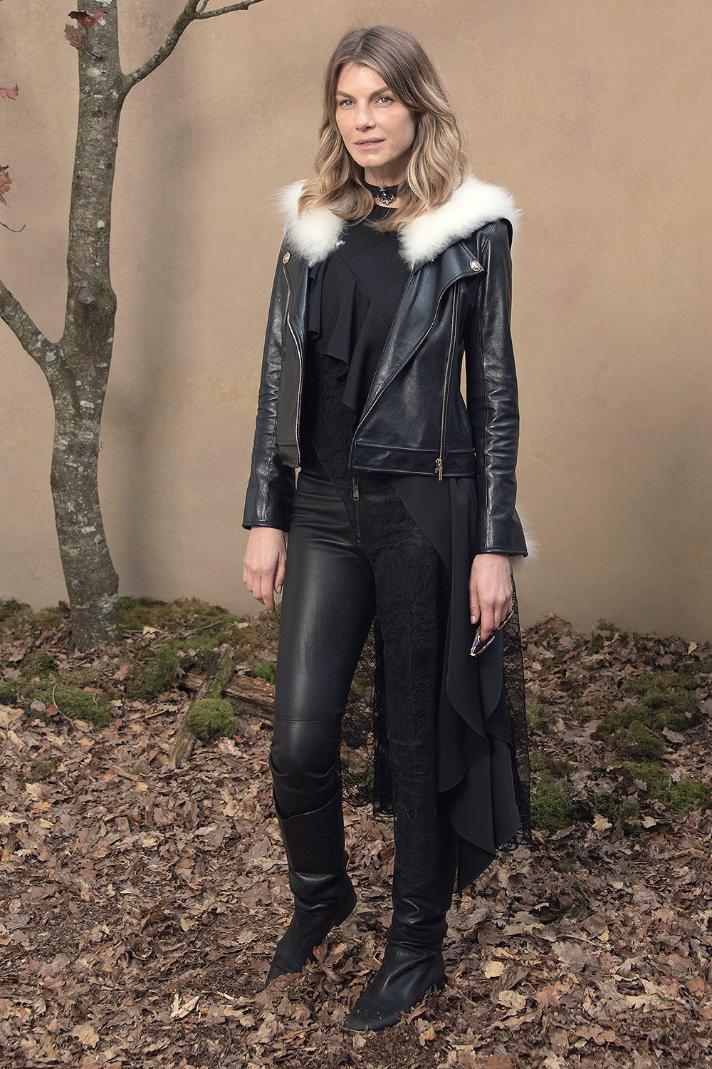 Angela Lindvall attends Chanel show