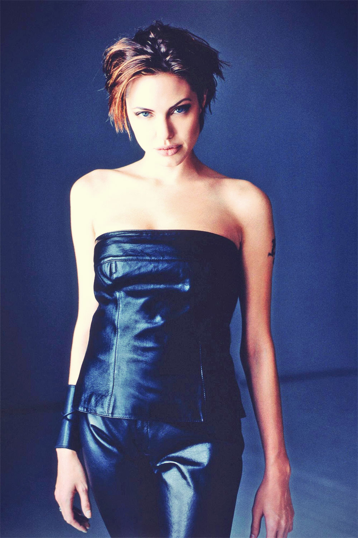 Angelina Jolie leather mix