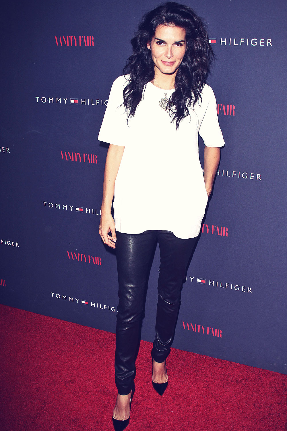 Angie Harmon attends Zooey Deschanel And Tommy Hilfiger Debut New Capsule Collection