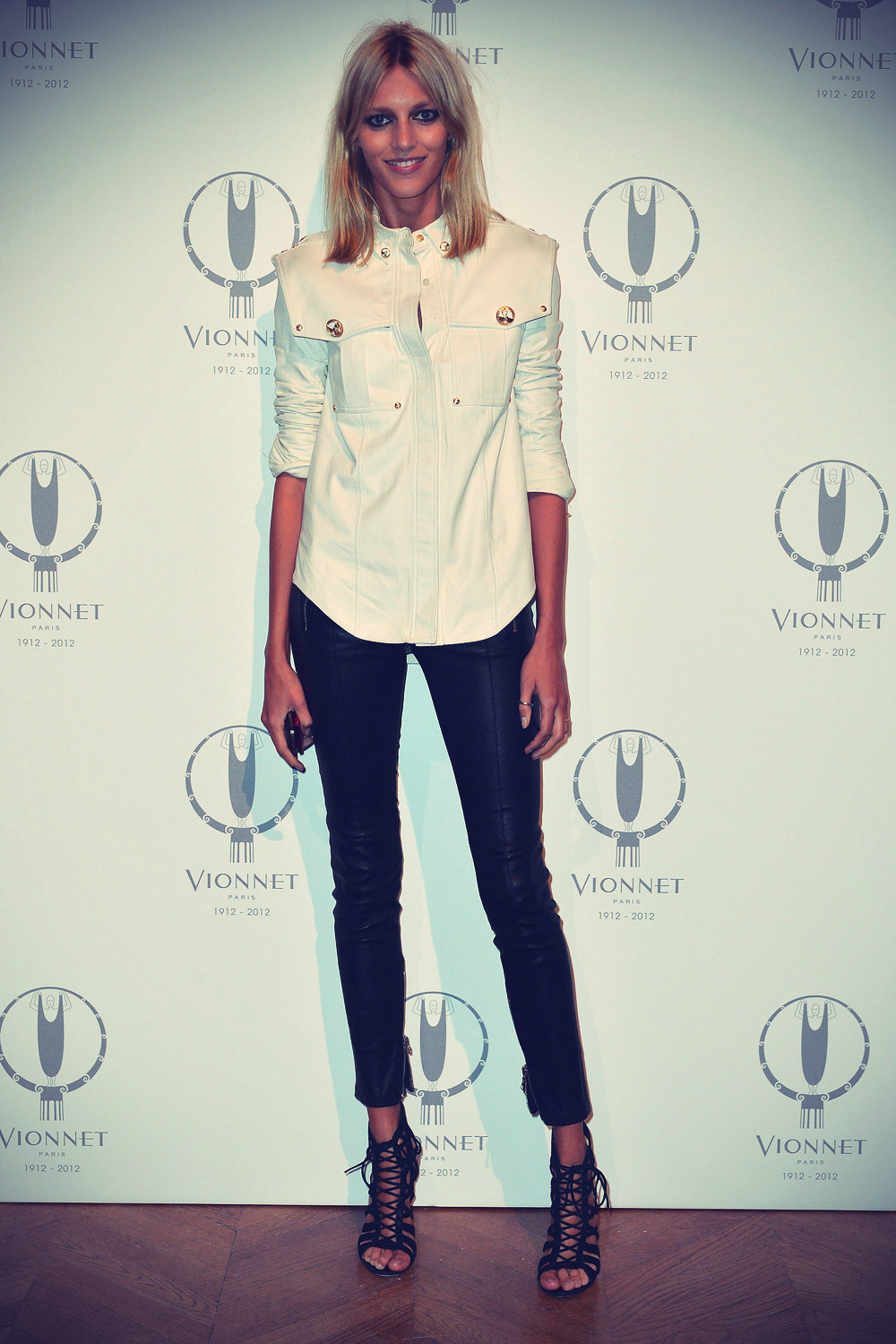 Anja Rubik poses during the Maison Vionnet 100th Anniversary