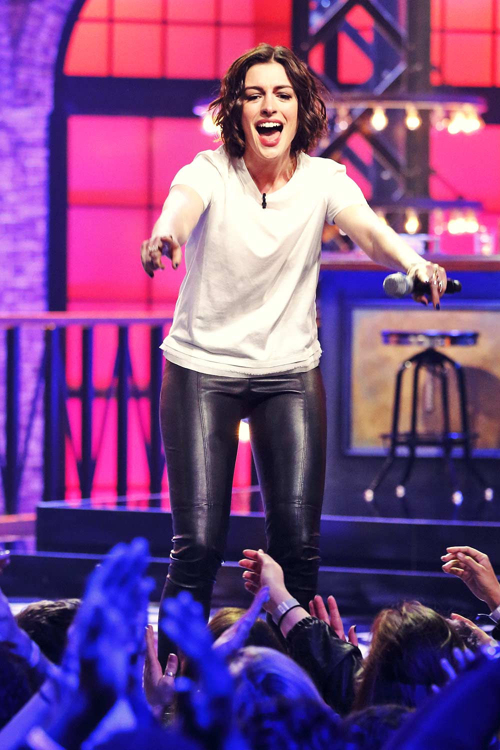 Anne Hathaway At Lip Sync Battle Leather Celebrities