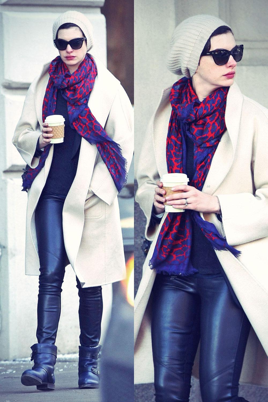 Anne Hathaway picks up a coffee in the SoHo neighborhood