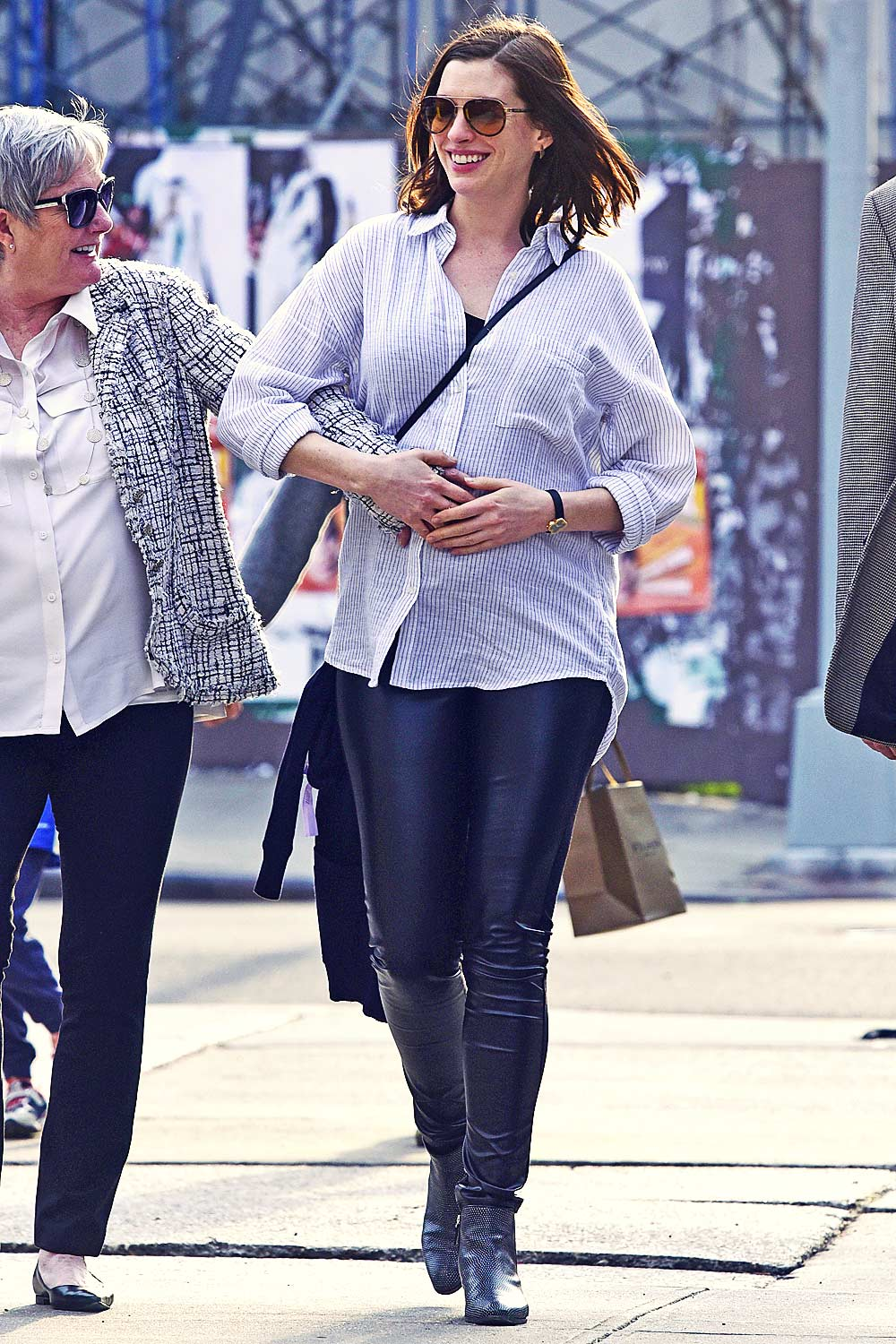 Anne Hathaway Out In Downtown New York Leather Celebrities