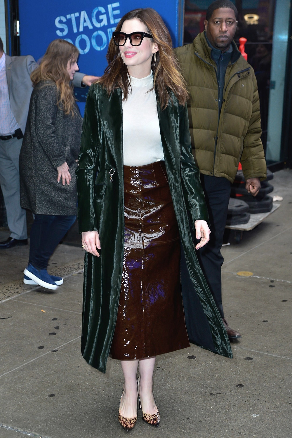 Anne Hathaway Outside Good Morning America Leather