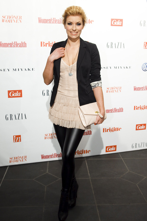 Annica Hansen attends the Fashion Meets Love Party at Ufer8 in Duesseldorf