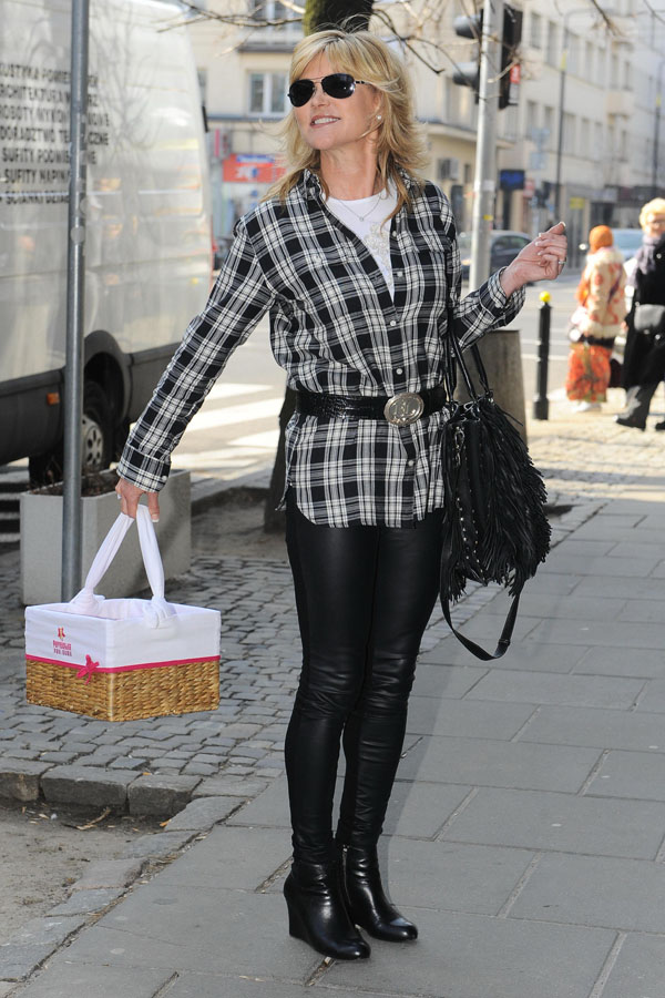 Anthea Turner out shopping in Warsaw, Poland