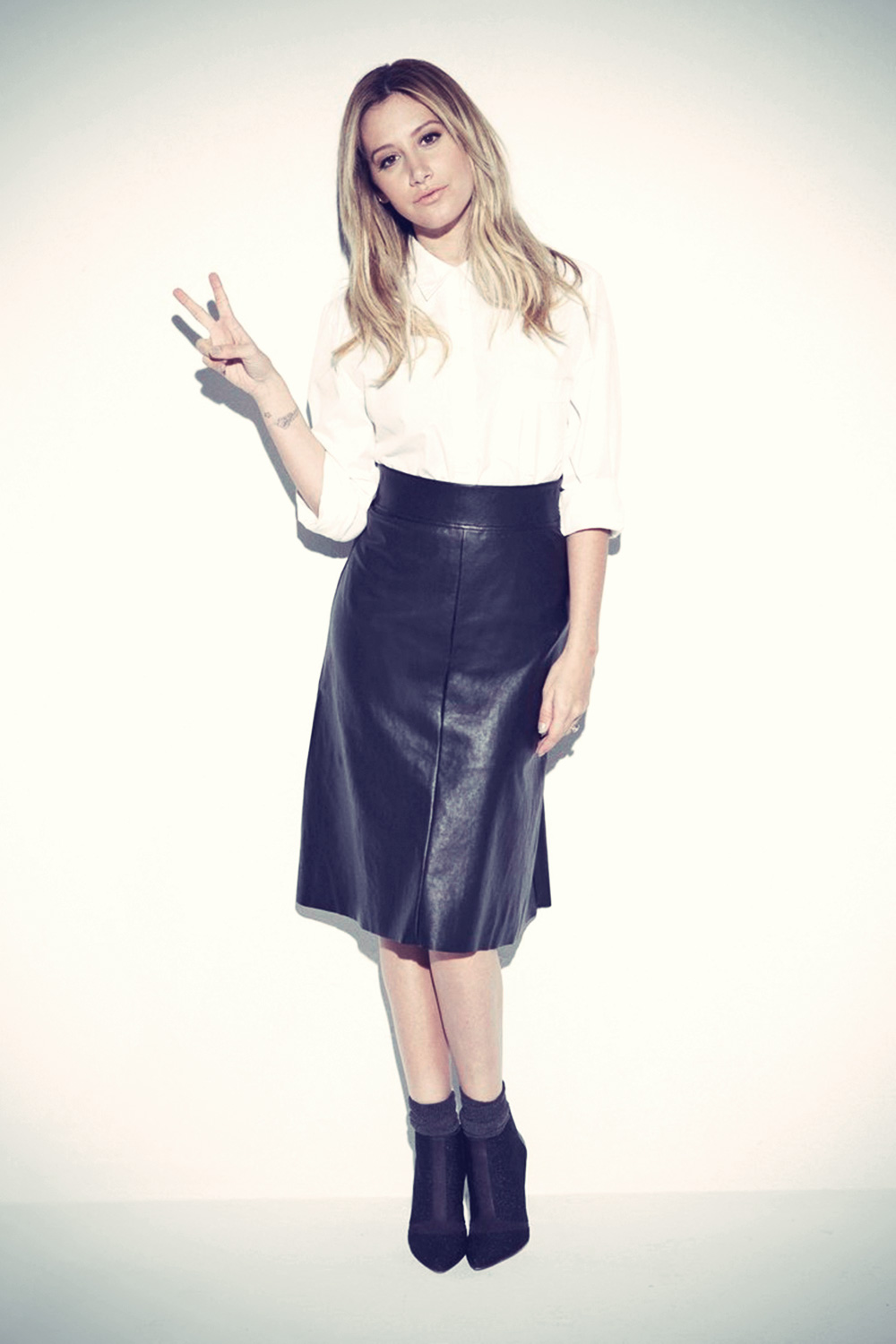 Ashley Tisdale Magdalena Wosinska photoshoot - Leather ... Rosie Huntington Whiteley Clothing