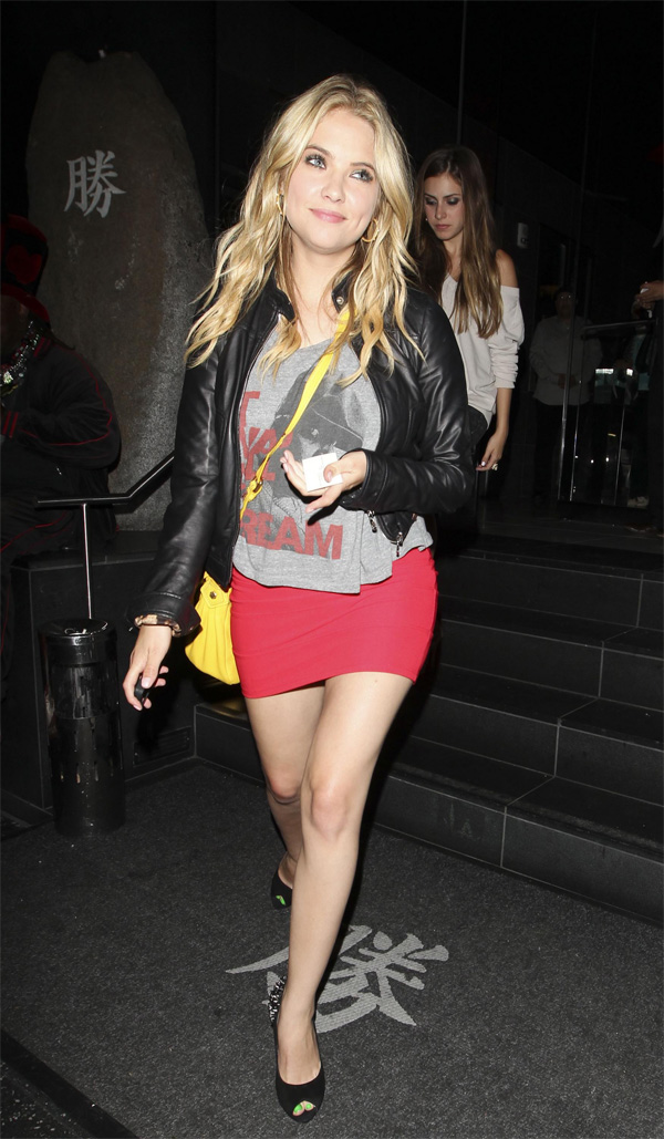 Ashley Benson outside Katsuya restaurant at Hollywood