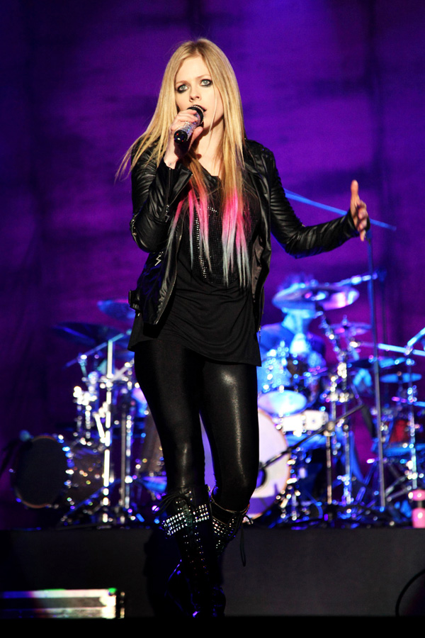 Avril Lavigne performs on stage as a part of her 2012 Black Star Tour at Guangzhou Gymnasium in Chin