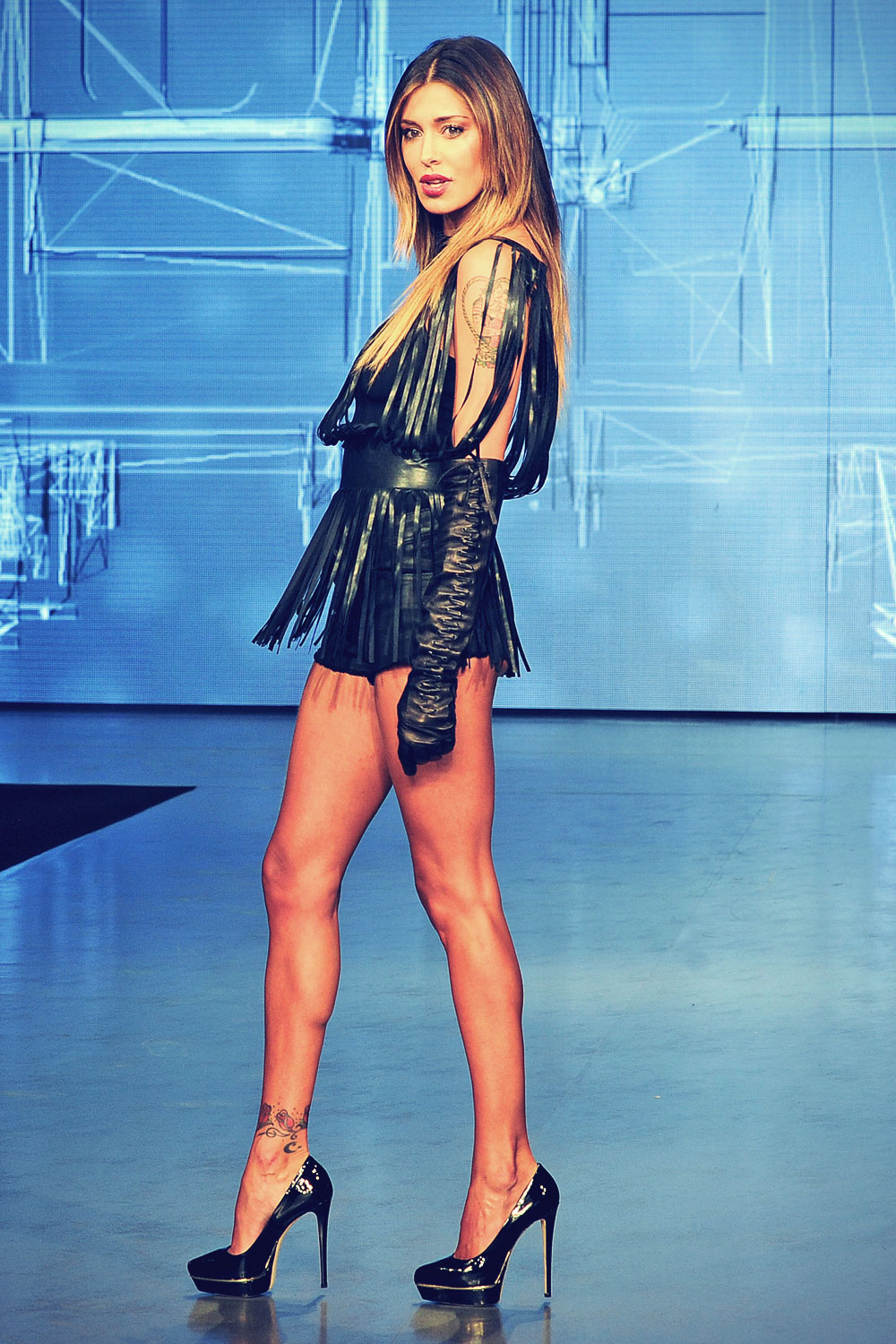 Belen Rodriguez on the catwalk at Imperfect show