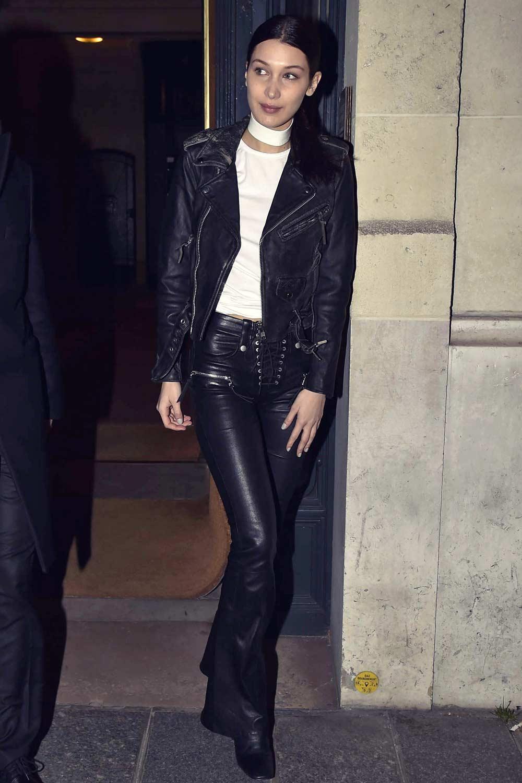 Bella Hadid Arriving At Miu Miu Offices Leather Celebrities