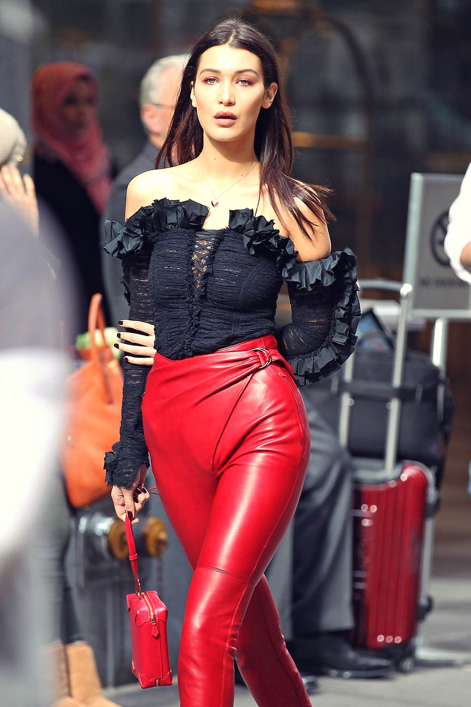 Bella Hadid on a photoshoot in New York