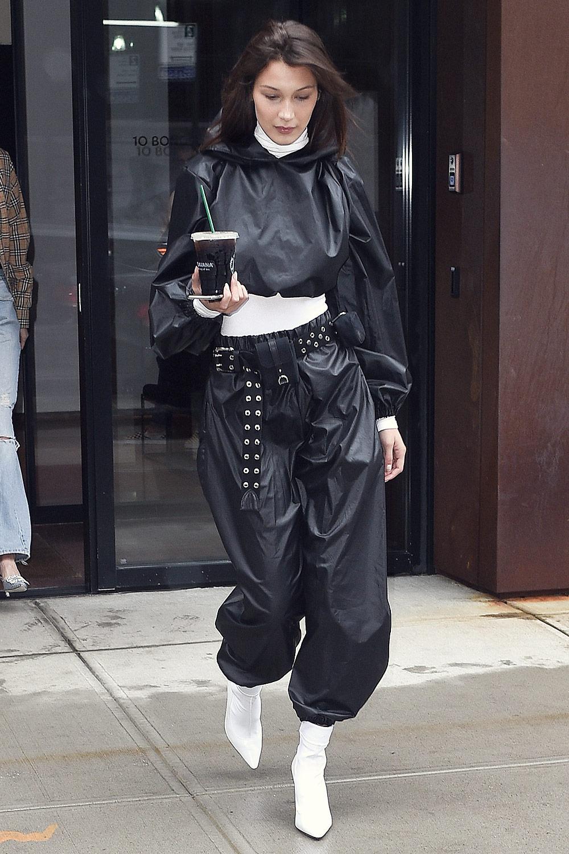 Bella Hadid seen at Gigi's apartment