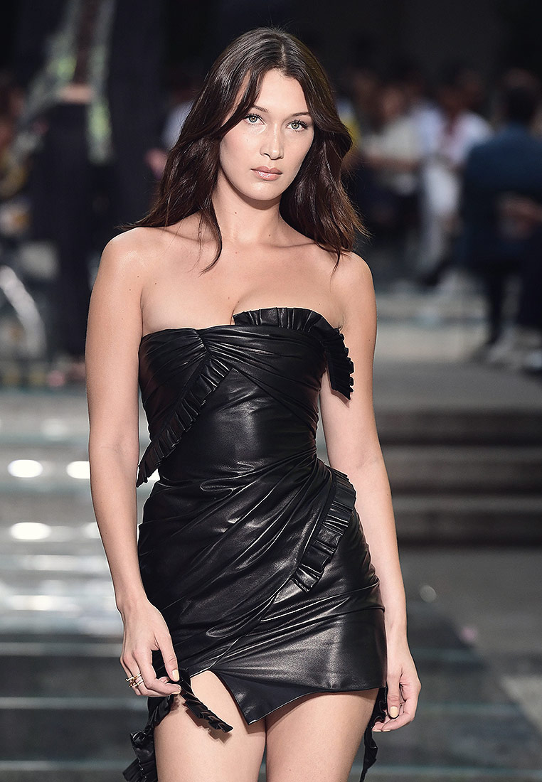 Bella Hadid walking the runway for Versace Fashion Show