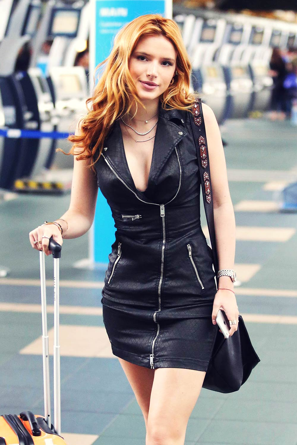 Bella Thorne At Vancouver Airport Leather Celebrities