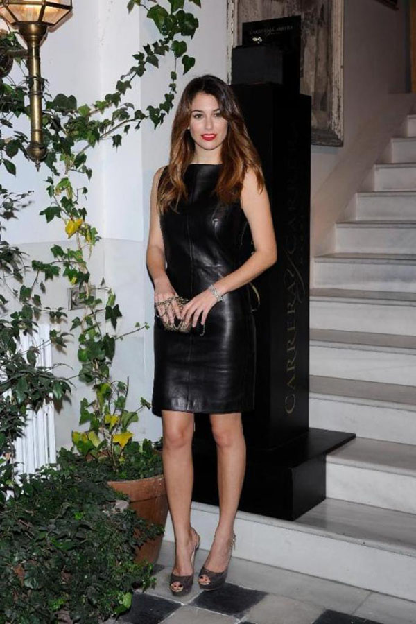 Bianca Suarez leather dress