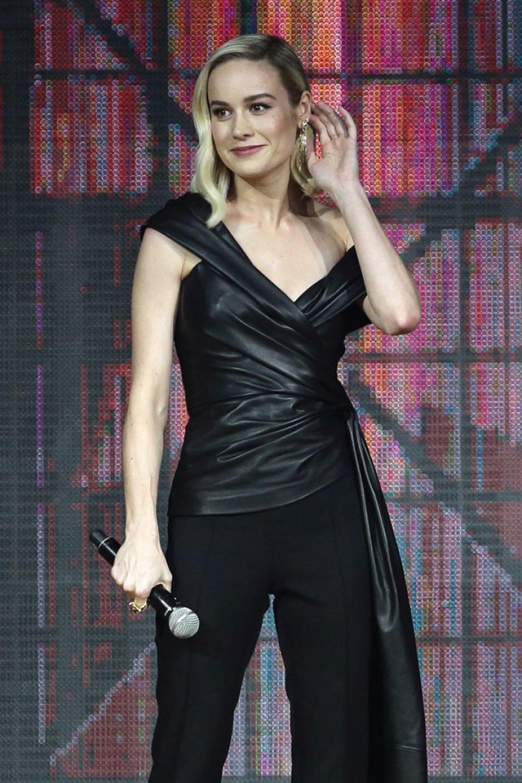 Brie Larson attends Captain Marvel Talent Tour Fan Event