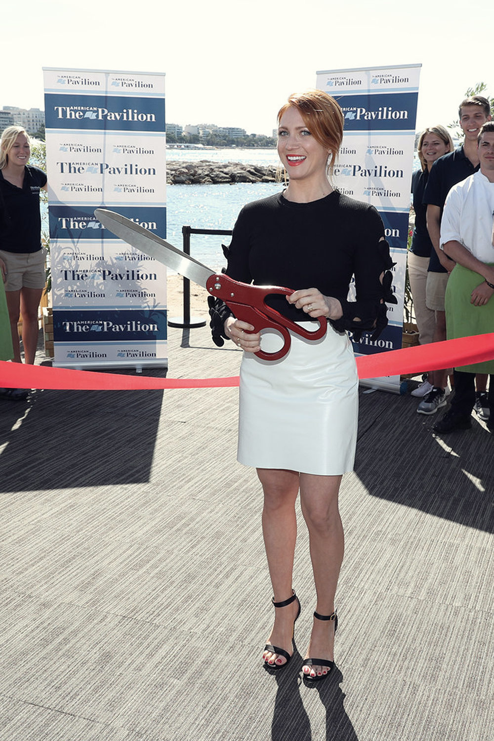 Brittany Snow Attends American Pavilion Opening Leather