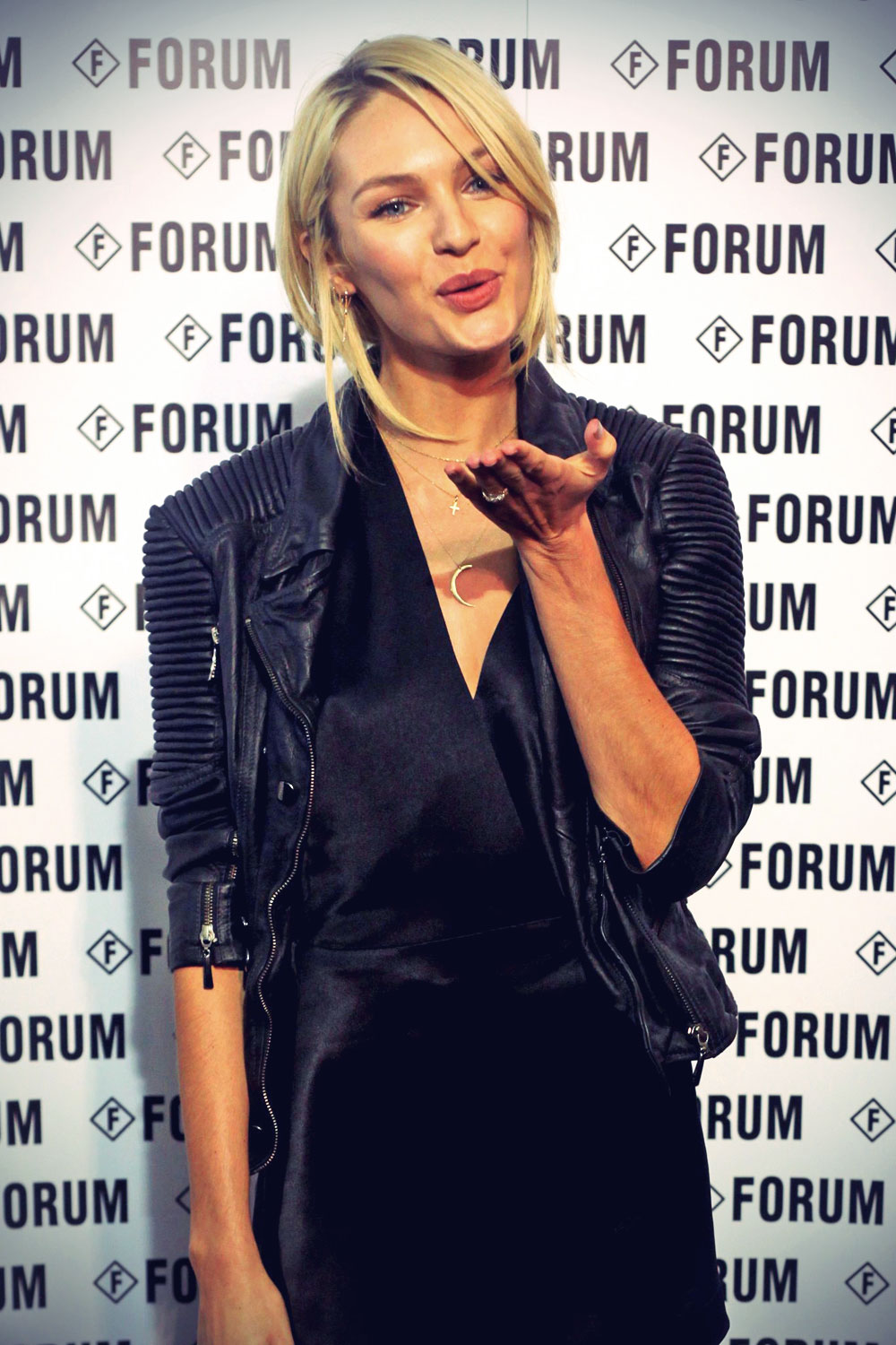 Candice Swanepoel attends Forum Fall Winter 2014 Fashion Show
