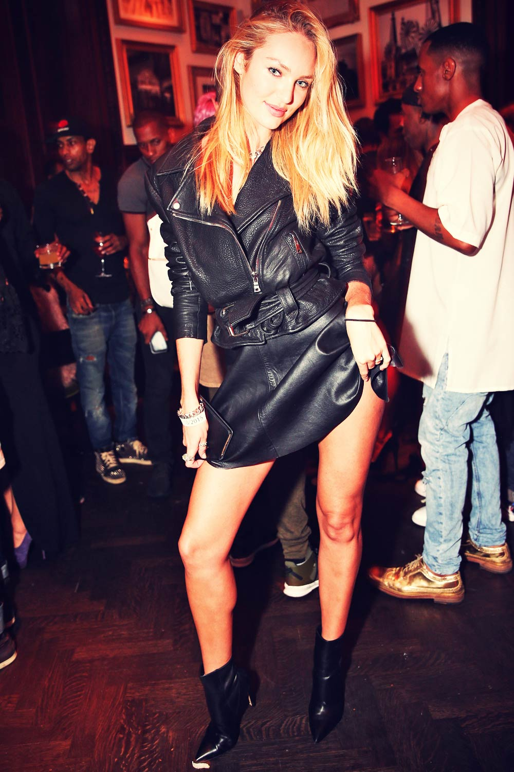 Candice Swanepoel Attends Rihanna Party Leather Celebrities