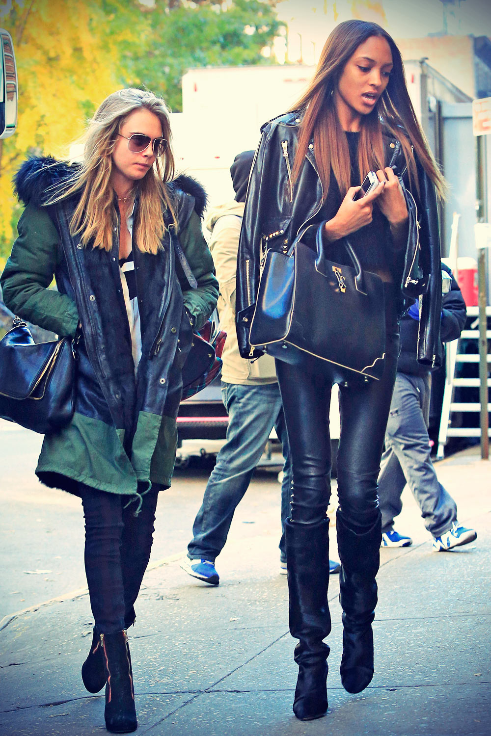 Cara Delevingne and Jourdan Dunn arrive together for VS Fashion Show