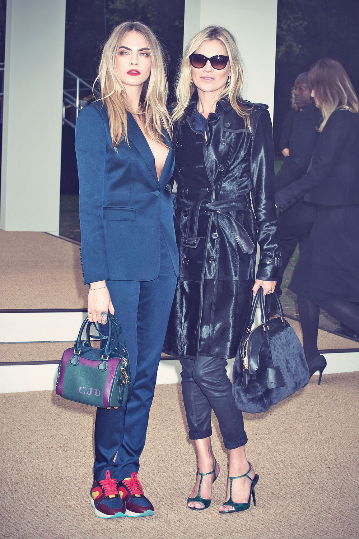 Cara Delevingne and Kate Moss attend Burberry Prorsum show