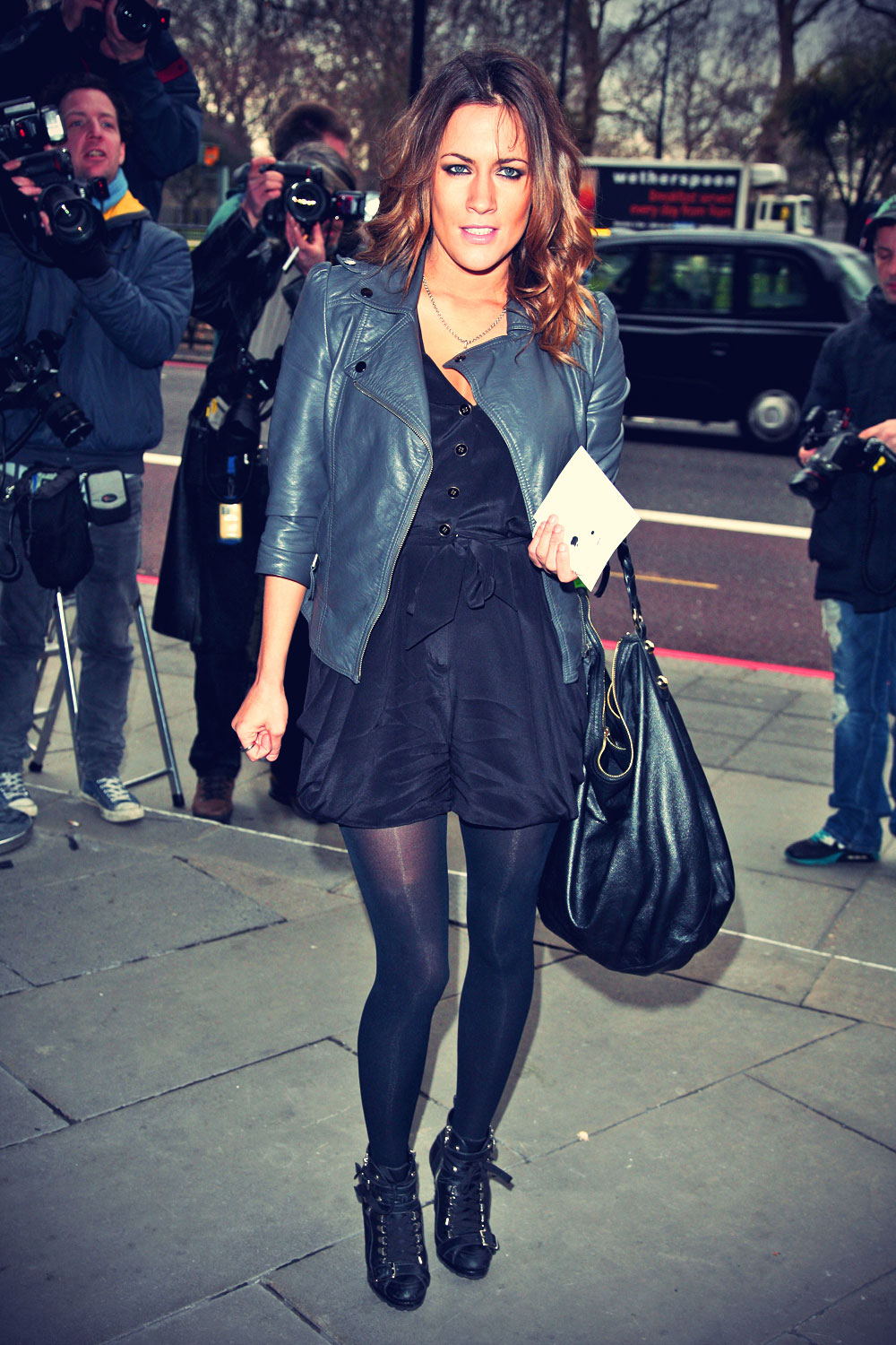 Caroline Flack attends 2010 Tric Awards
