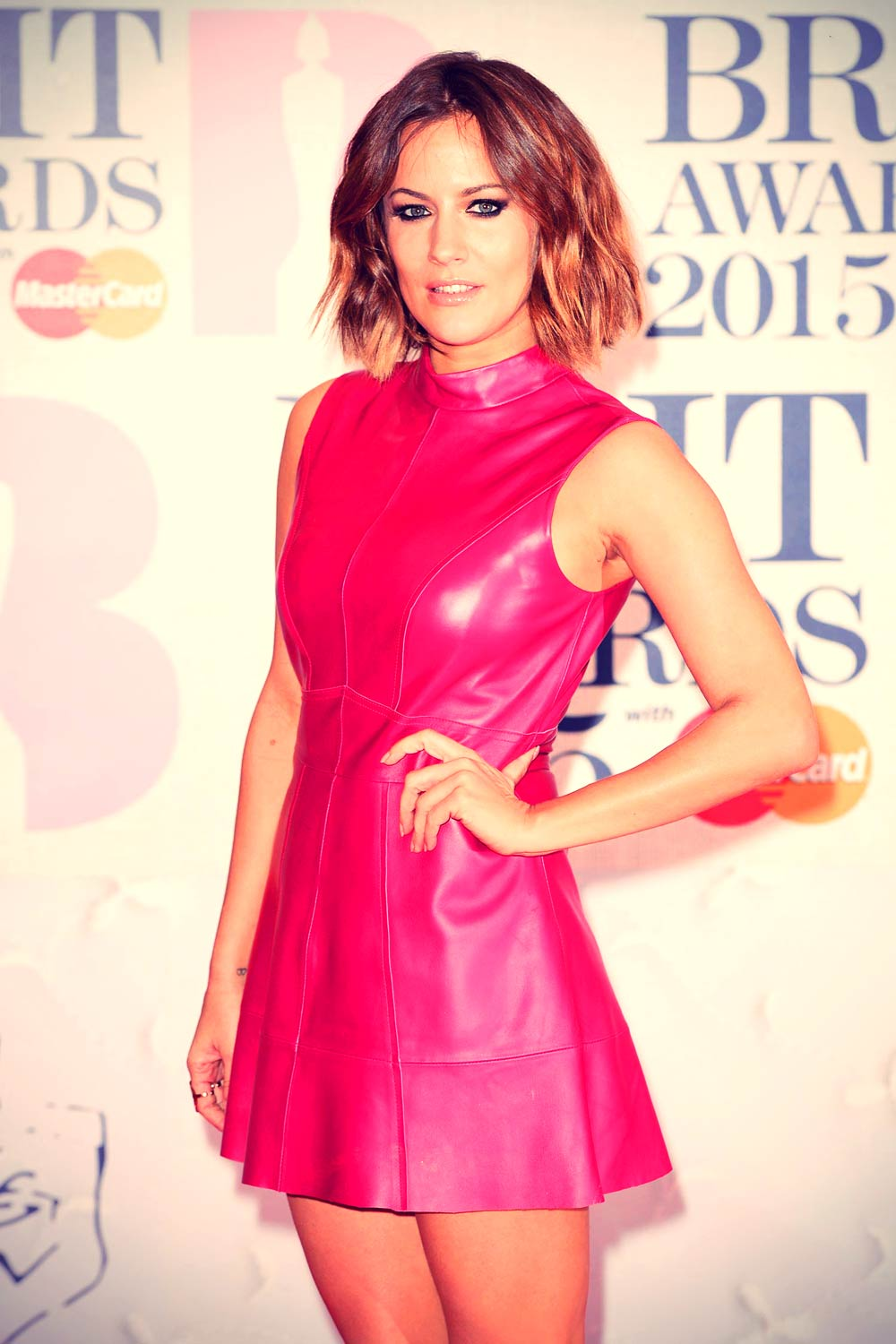 Caroline Flack Attends The Brit Awards 2015 Leather