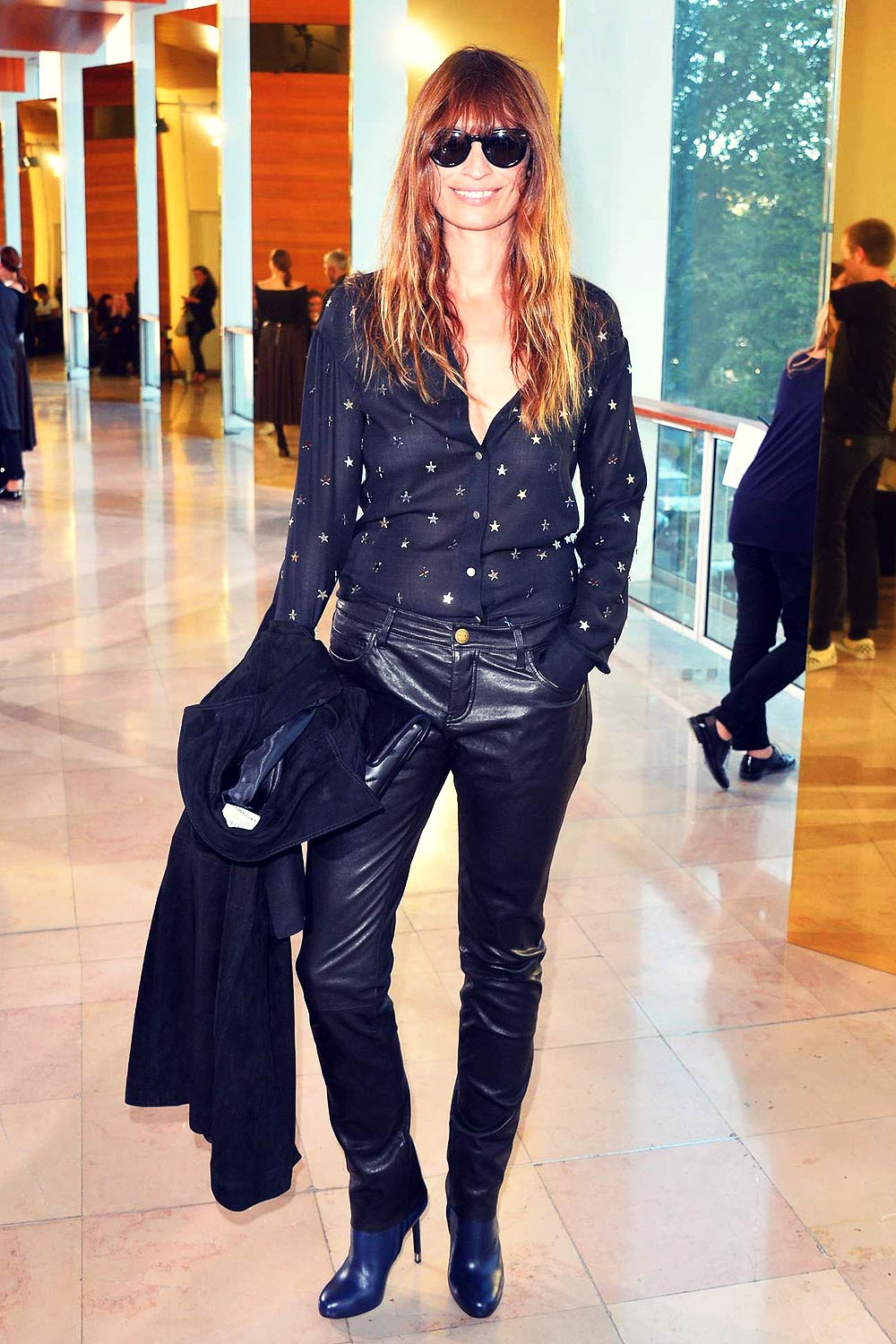 Caroline De Maigret Attends Anthony Vaccarello Leather