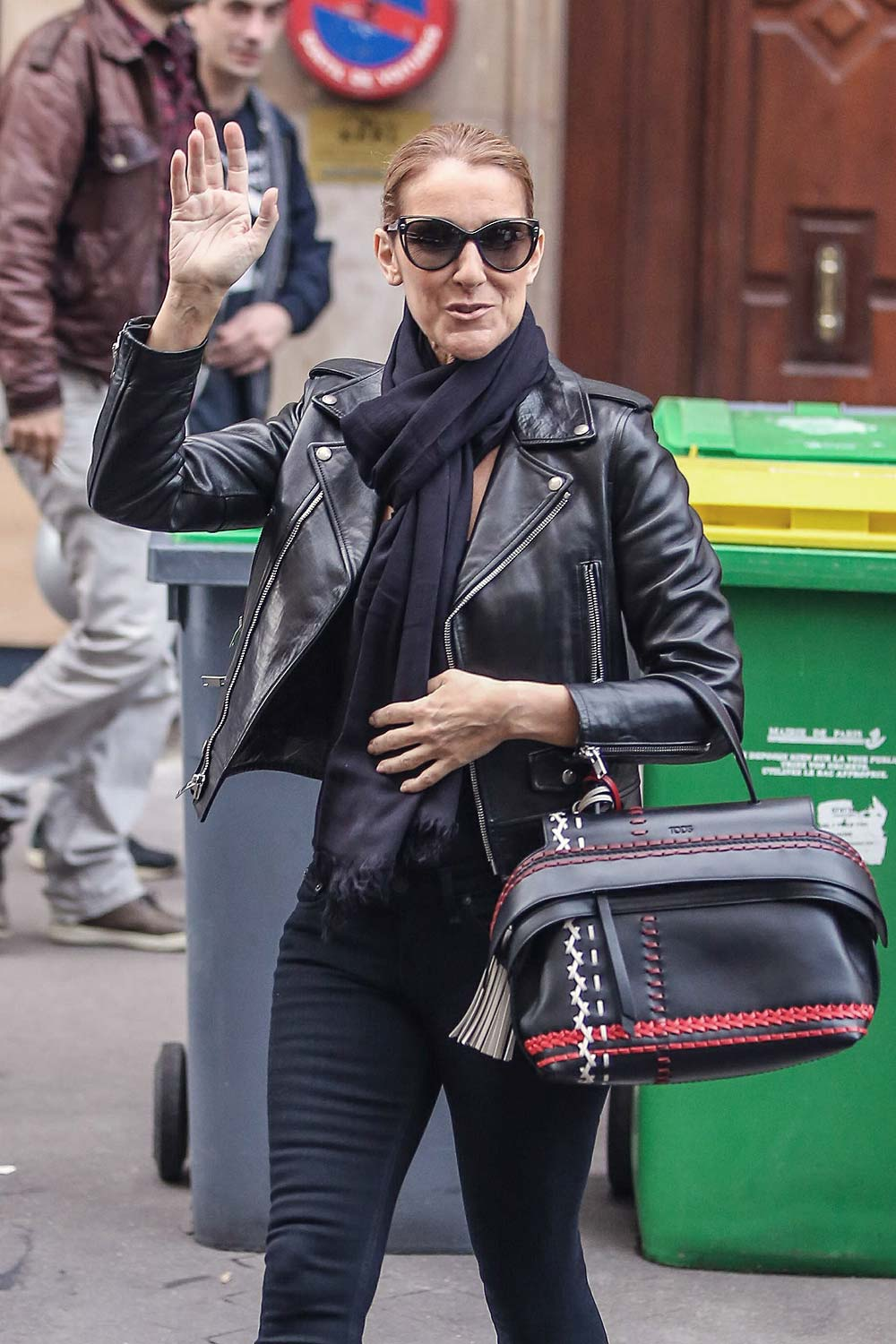 Celine Dion leaves her hotel to do a photoshoot