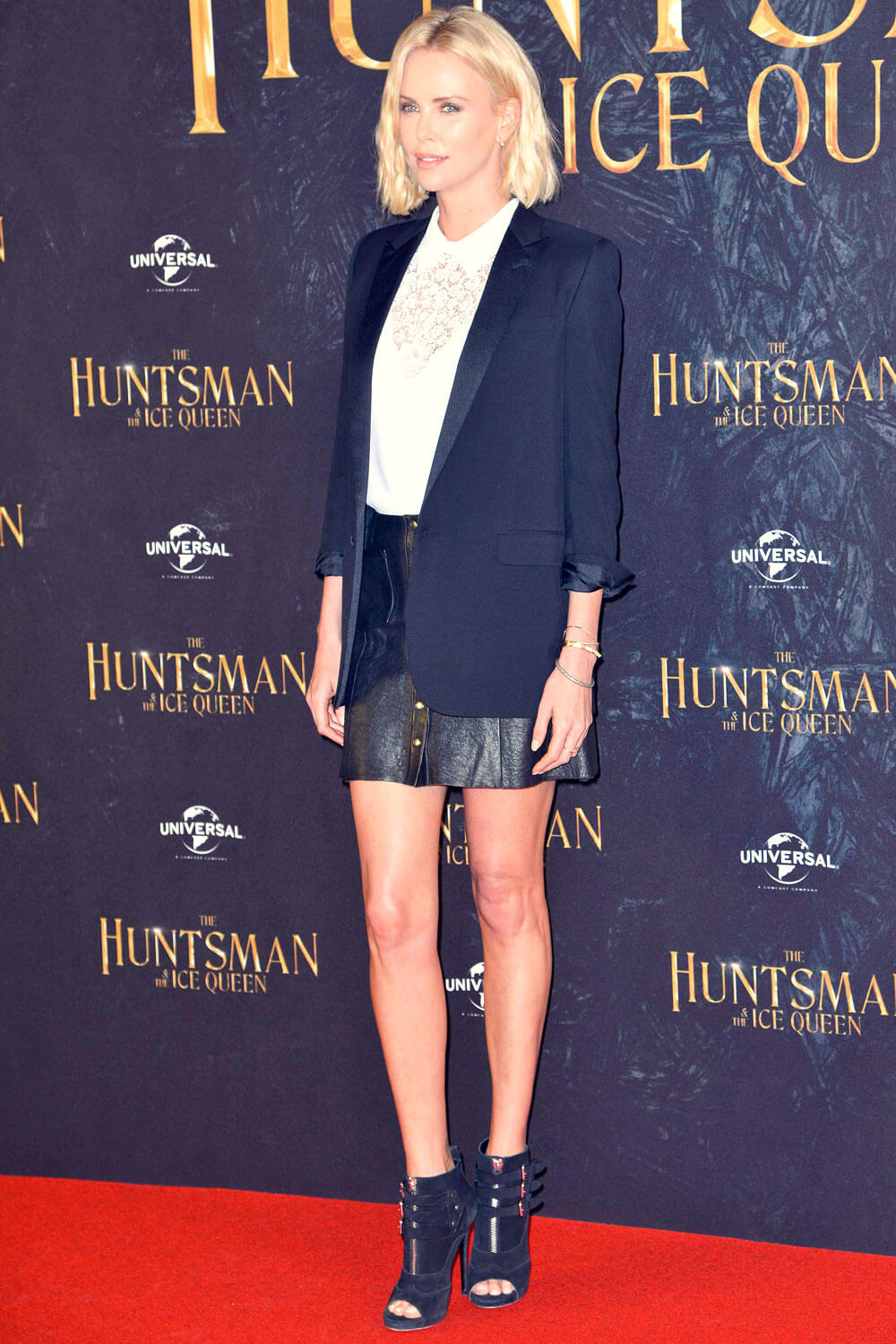 Charlize Theron promoting her new movie Huntsman