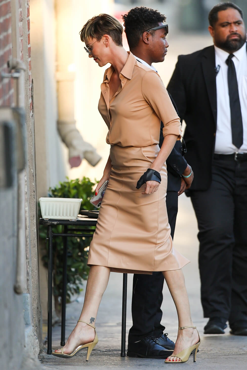 Charlize Theron makes a stylish arrival at Jimmy Kimmel Live
