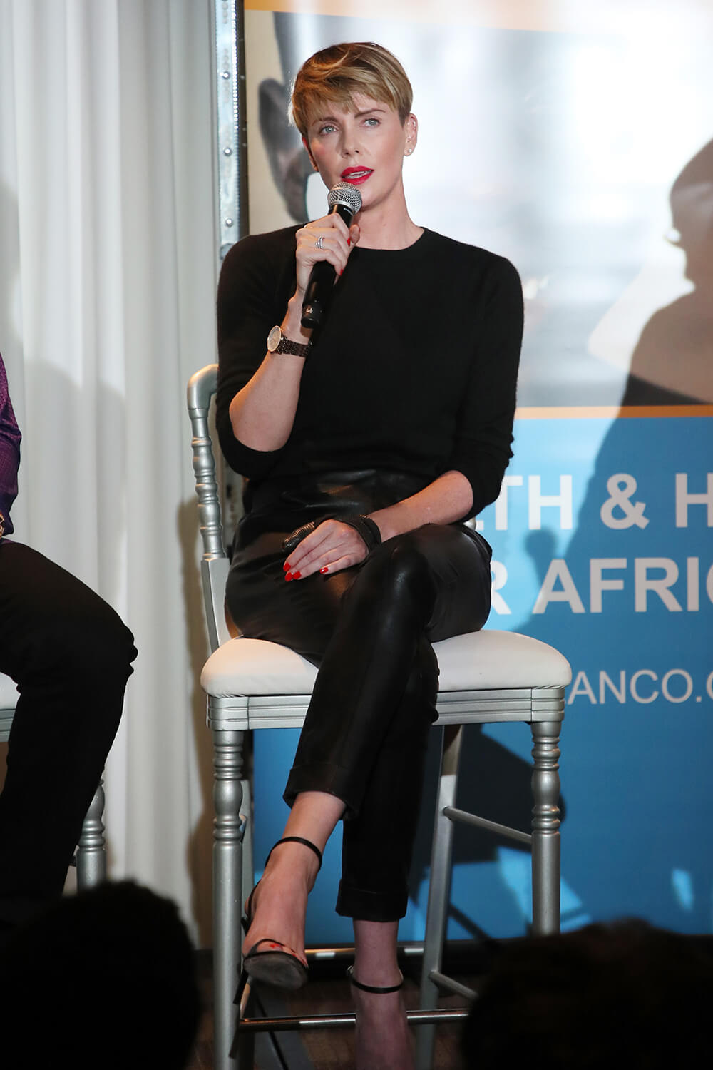 Charlize Theron speaks at the GEANCO Foundation Hollywood Gala