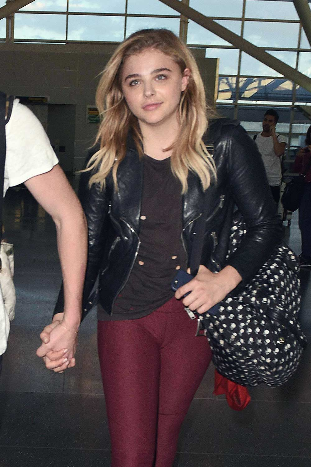 57bc6736dd Chloe Moretz leather style trends - Leather Celebrities