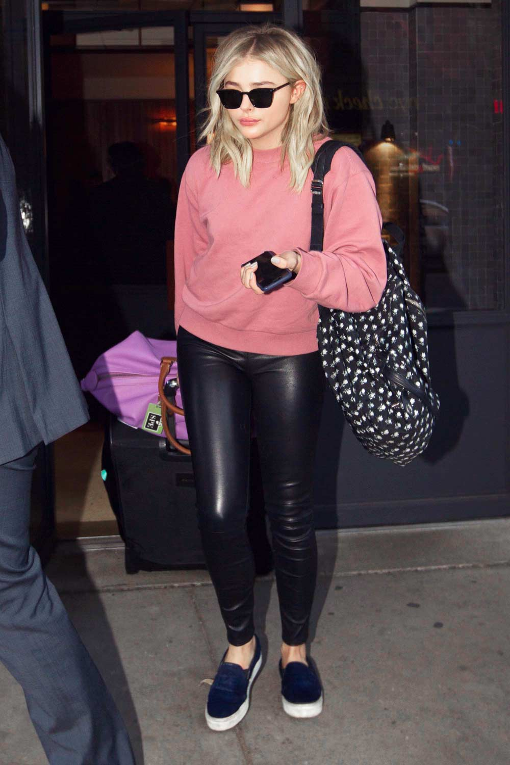 Chloe Moretz Leaving Her Hotel In Tribeca Leather