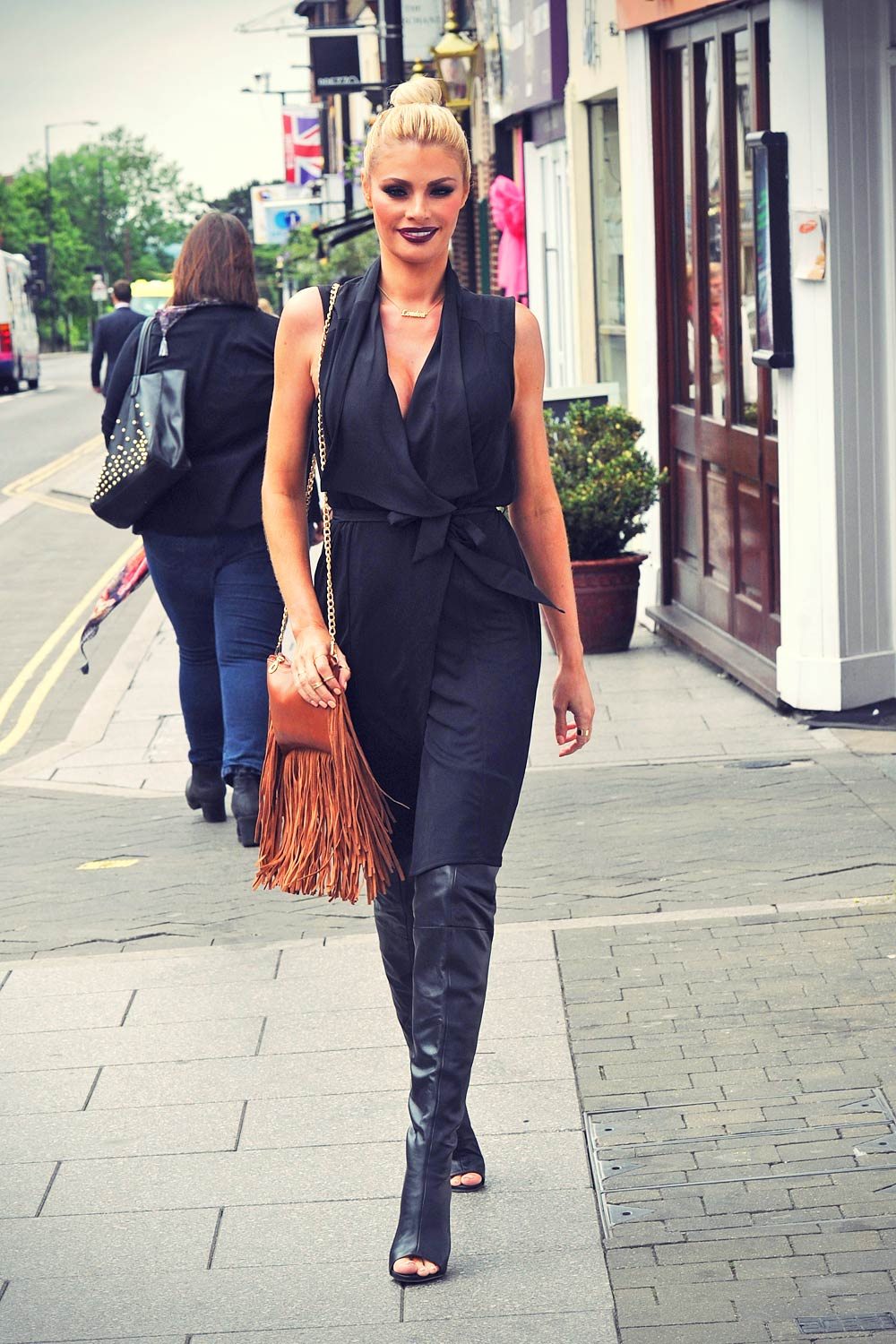 Chloe Sims Filming Scenes For Towie Leather Celebrities