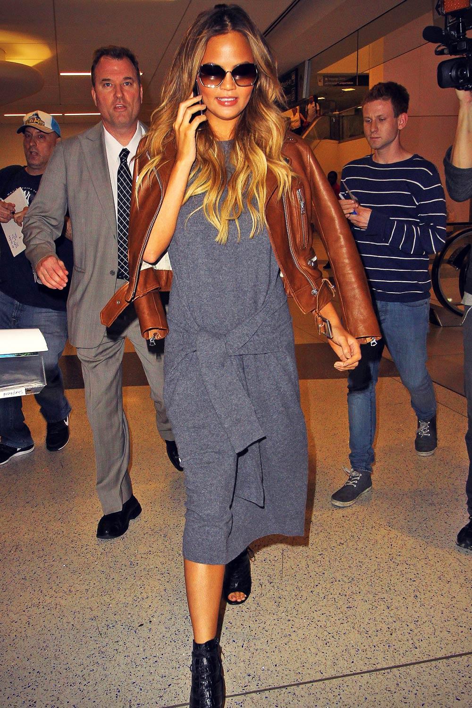 Chrissy Teigen arrives at JFK Airport in New York City