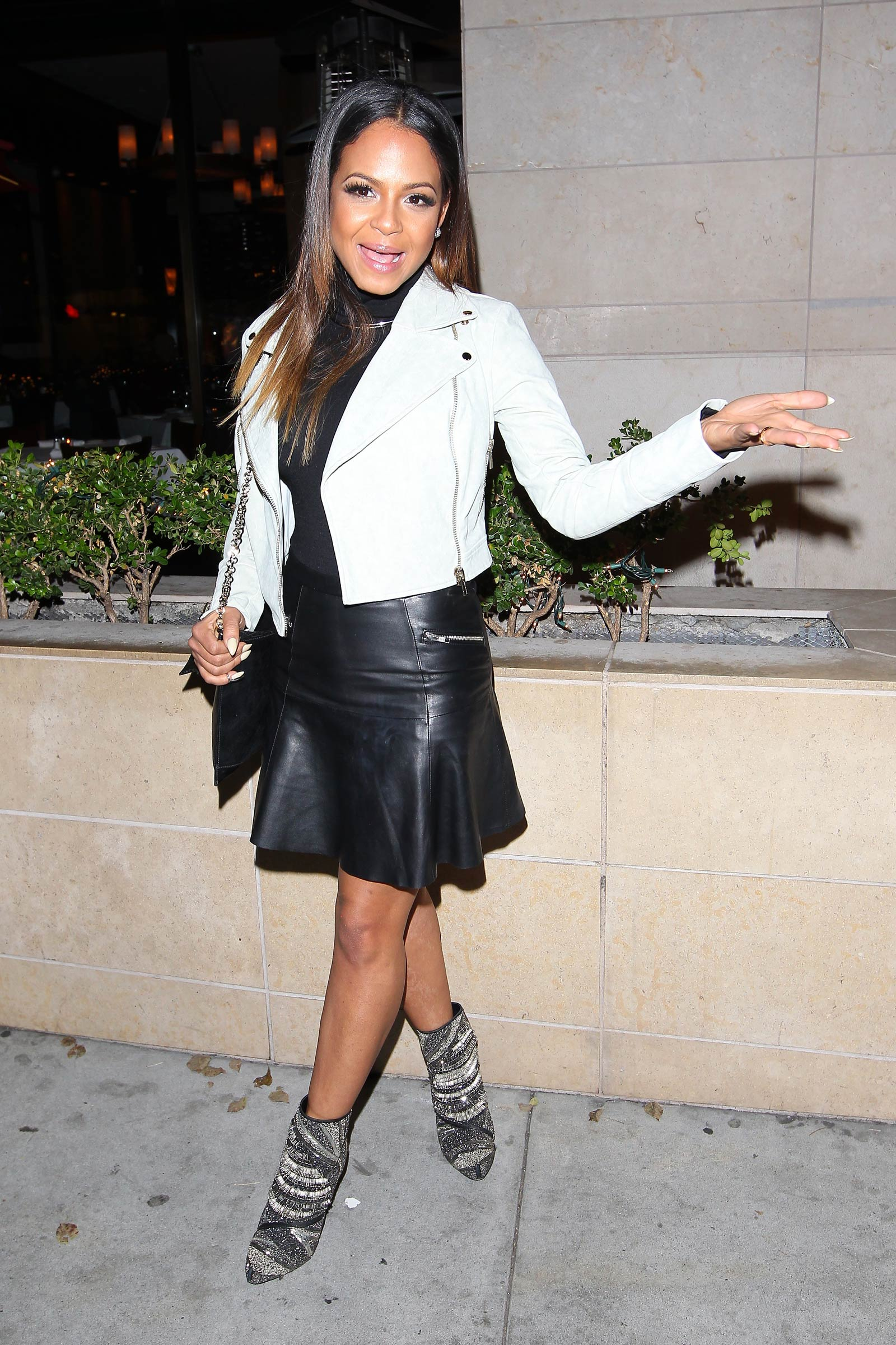 Christina Milian lunch with friends at Porta Via