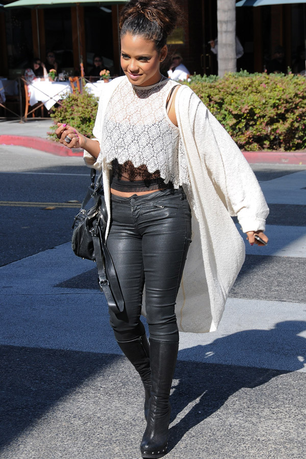 Christina Milian at an Italian Restaurant in Beverly Hills