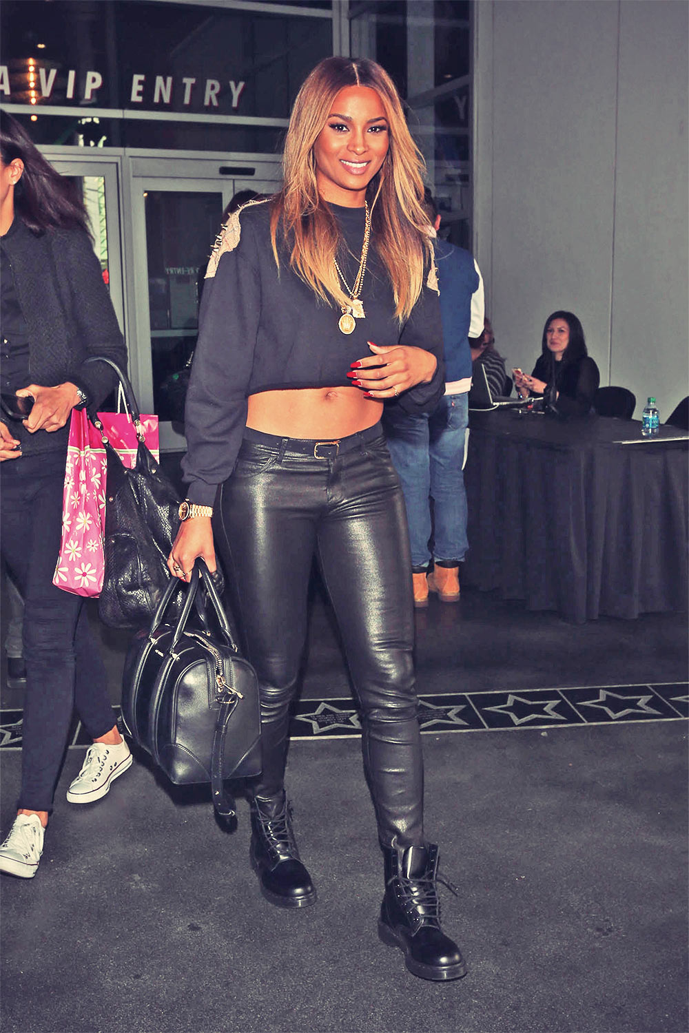 Ciara heads into the Staples Center in LA